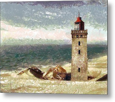 Metal Print featuring the painting Old Lighthouse by Georgi Dimitrov