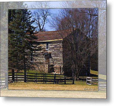 Old Log Home Metal Print by Walter Herrit