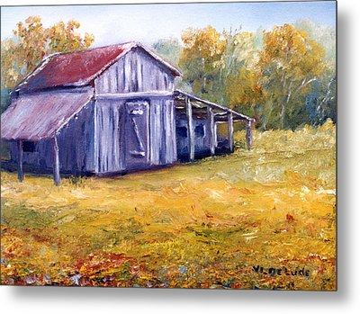 Old Louisiana Barn In Pasture Landscape Metal Print by Lenora  De Lude