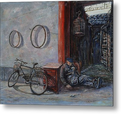 Old Man And His Bike Metal Print by Xueling Zou