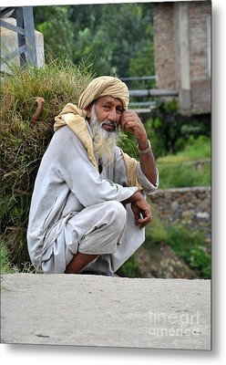 Metal Print featuring the photograph Old Man Carrying Fodder Swat Valley Kpk Pakistan by Imran Ahmed