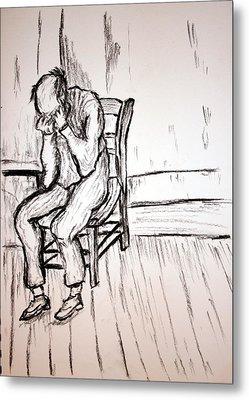 Old Man In Sorrow Metal Print by Paul Morgan