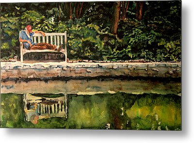 Old Man On A Bench Metal Print