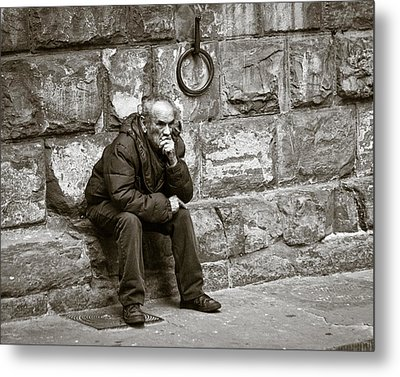 Old Man Pondering Metal Print by Susan Schmitz