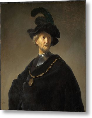 Old Man With A Gold Chain Metal Print by Rembrandt van Rijn