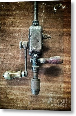 Old Manual Drill Metal Print by Carlos Caetano
