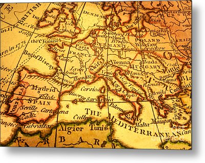 Old Map Of Europe And Mediterranean Metal Print by Colin and Linda McKie