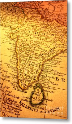 Old Map Of India And Sri Lanka Metal Print by Colin and Linda McKie