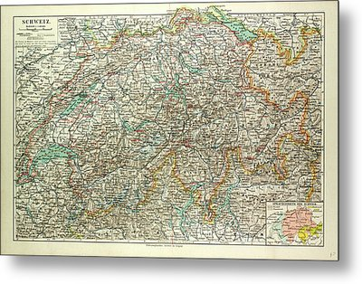 Old Map Of Switzerland Metal Print by Swiss School