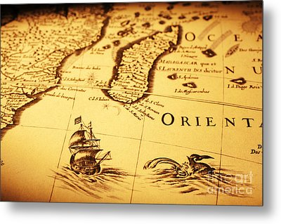 Old Map Sea Monster Sailing Ship Africa Madagascar Metal Print by Colin and Linda McKie