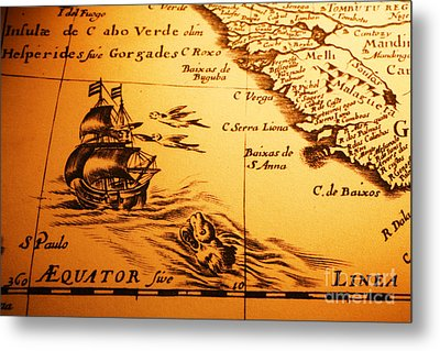 Old Map Sea Monster Sailing Ship Equator Africa Metal Print by Colin and Linda McKie