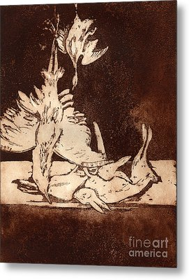 Metal Print featuring the painting Old Masters Still Life - With Great Bittern Duck Rabbit - Nature Morte - Natura Morta - Still Life by Urft Valley Art