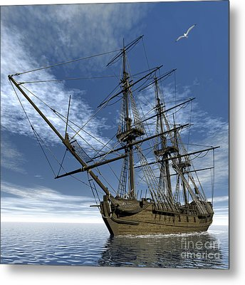 Old Meduse Frigate Of The French Navy Metal Print