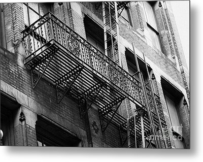 Old Metal Fire Escape Staircase On Side Of Building Greenwich Village New York City Metal Print by Joe Fox