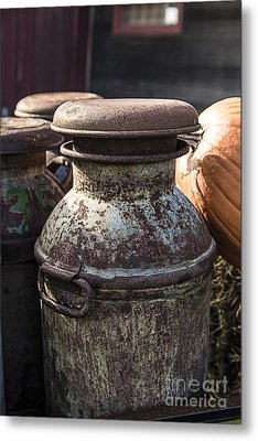 Old Milk Cans Metal Print by Edward Fielding