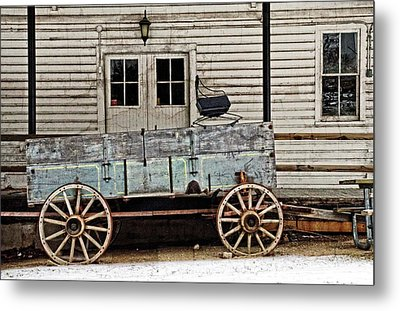 Old Mill And Wagon Metal Print by Cheryl Cencich