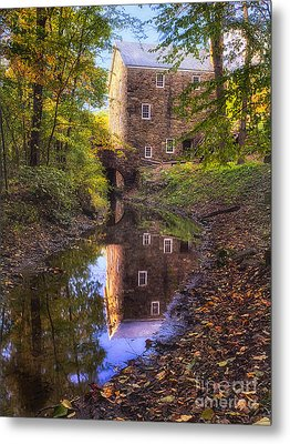 Old Mill Reflected In A Creek Metal Print by George Oze