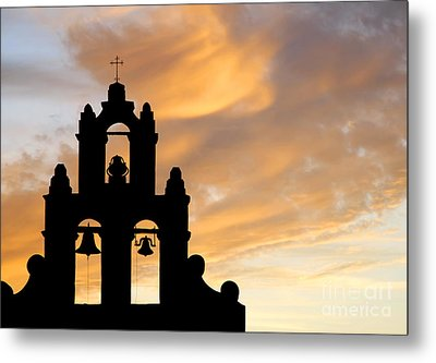 Old Mission Bells Against A Sunset Sky Metal Print by Lincoln Rogers