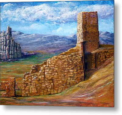 Metal Print featuring the painting Old Mission Landscape New Mexico by Lenora  De Lude