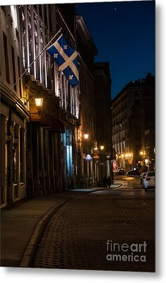 Old Montreal At Night Metal Print by Cheryl Baxter