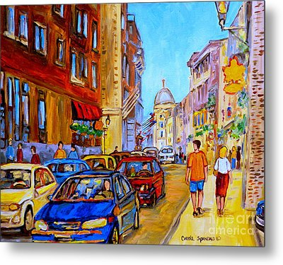 Metal Print featuring the painting Old Montreal by Carole Spandau