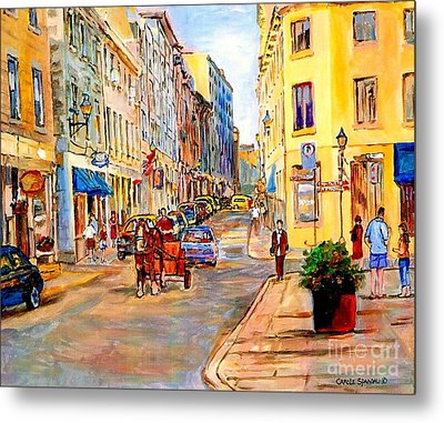 Old Montreal Paintings Youville Square Rue De Commune Vieux Port Montreal Street Scene  Metal Print by Carole Spandau