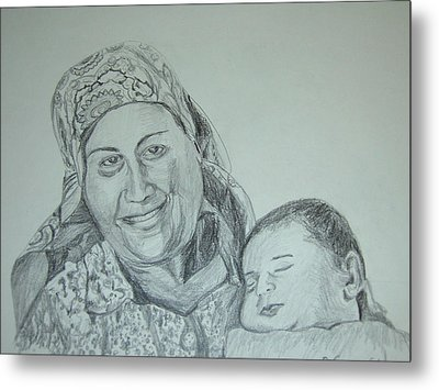 Old Mother With New Baby Metal Print by Esther Newman-Cohen