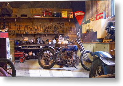 Old Motorcycle Shop 2 Metal Print by Mike McGlothlen