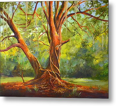 Old Oak With Vines Metal Print