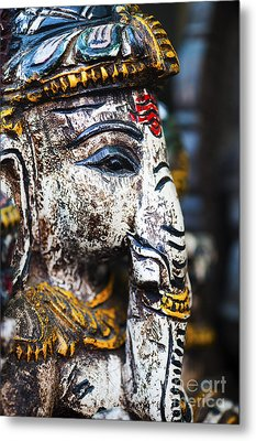 Old Painted Wooden Ganesha Metal Print by Tim Gainey