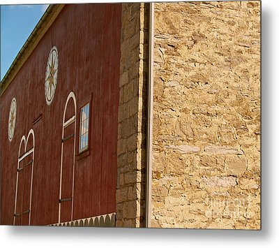 Old Pennsylvania Barn With Hex Signs Metal Print by Anna Lisa Yoder
