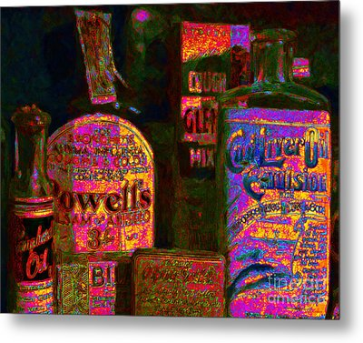Old Pharmacy Bottles - 20130118 V2a Metal Print by Wingsdomain Art and Photography