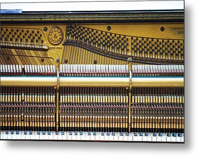 Old Piano Sits On The Shores Of Lake Metal Print