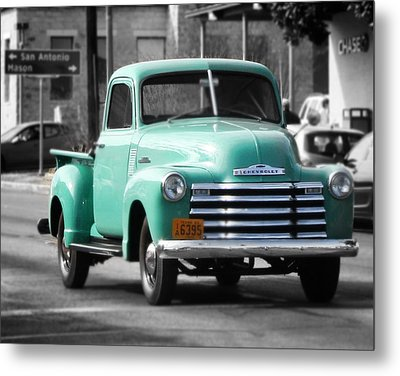 Old Pickup Truck Photo Teal Chevrolet Metal Print