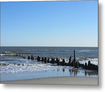Old Pier Remnants 6 Metal Print