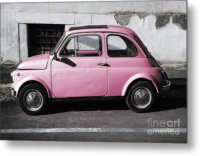 Old Pink Fiat 500 Metal Print