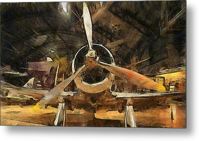 Old Plane In The Hangar Metal Print by Dan Sproul