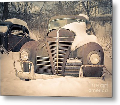 Old Plymouth Classic Car In The Snow Metal Print by Edward Fielding