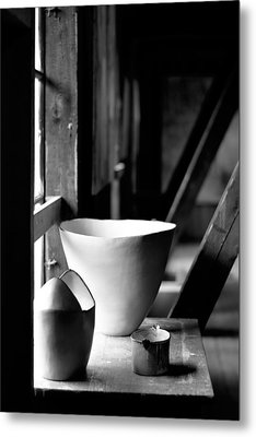 Old Pots At The Window Metal Print by Tommytechno Sweden