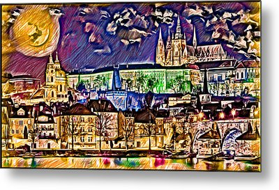 Old Prague Magic - Wallpaper Metal Print
