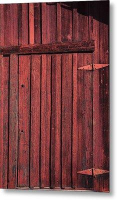 Old Red Barn Door Metal Print by Garry Gay