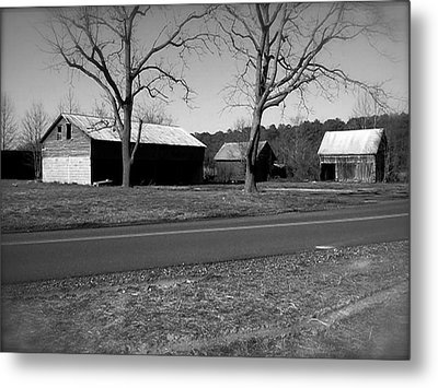 Metal Print featuring the photograph Old Red Barn In Black And White by Amazing Photographs AKA Christian Wilson