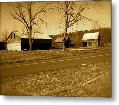 Metal Print featuring the photograph Old Red Barn In Sepia by Amazing Photographs AKA Christian Wilson