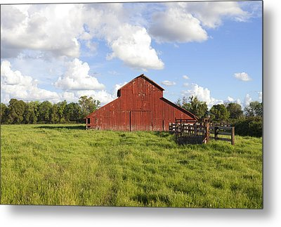 Metal Print featuring the photograph Old Red Barn by Mark Greenberg