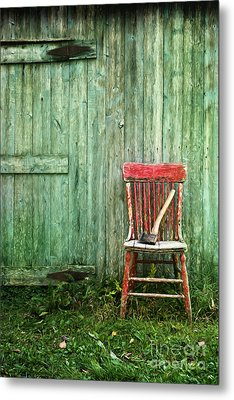 Metal Print featuring the photograph Old Red Chair Near A Barn/digital Oil Painting by Sandra Cunningham