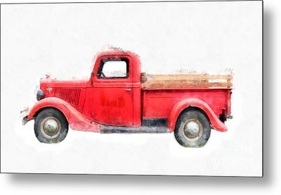 Old Red Ford Pickup Metal Print by Edward Fielding