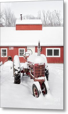 Old Red Tractor In Front Of Classic Sugar Shack Metal Print