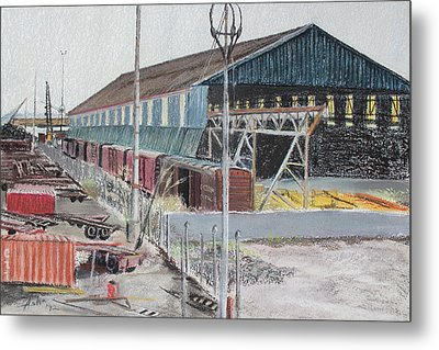 Old Resting Train And Schnitzer Steel Building Metal Print by Asha Carolyn Young