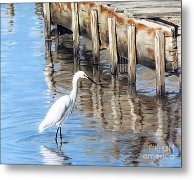 Old River Wharf In Matagorda Metal Print
