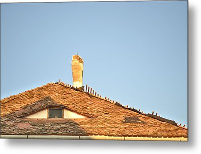 Old Roof With  A Chimney And A Triangular Attic Window Metal Print by Ion vincent DAnu